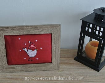 Frame - Embroidery - Santa Claus bird