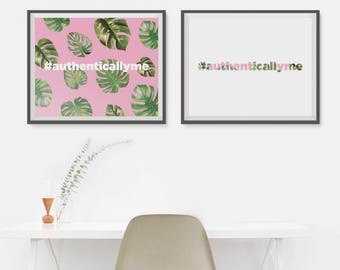 Monstera Leaf Plant Self Care Idea Tropical Leaf Printable New Years Resolution Mental Health Art Second Marriage Gift Green Leaf Print