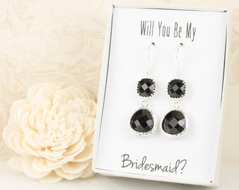 Long Black Silver Earrings, Black Wedding Jewelry, Black Silver Earrings, Bridesmaid Earrings, Black Bridal Accessories, Bridesmaid Gift