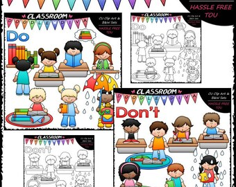 Classroom Books Do's and Don'ts Clip Art and B&W Set