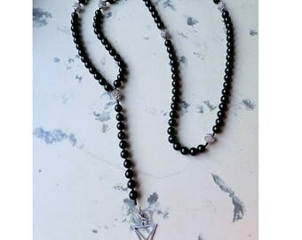 Simple Silver Black Satanic Rosary Satan Lucifer Sigil Meditations 108 beads mala