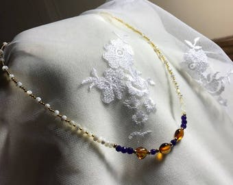 Mother of Pearl,Amethyst, Amber and Gold Necklace