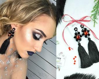 red earring tassel girlfriend gift Jewelry Statement Earrings xmas jewelry wife