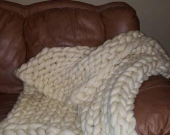 Super Chunky Merino Wool Knit Blanket, Arm Knit Blanket, Giant Warm Knit Blanket