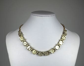Vintage Necklace-Coro-designer-leaves-lucie-rhinestones-elegant-mid century-Mad Men-Gift
