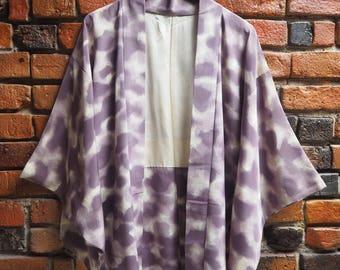 Women's 50s Purple And White Print Silk Japanese Kimono Jacket Size Small Medium
