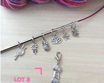 Lot de 7 marqueurs : 6 anneaux marqueurs et 1 marqueur amovible yarn laine pour votre tricot - Lot numéro 8