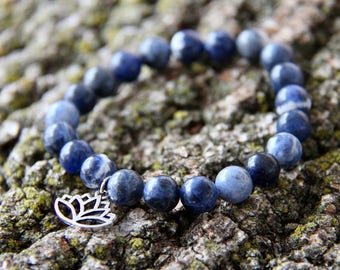 Silver Plated Lotus Flower Blue Sodalite Crystal Bead Mala Bracelet Lotus Flower Blue Bead Bracelet Blue Mala Bracelet Crystal Lotus