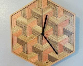 Wooden clock, geometric art, wooden wall art