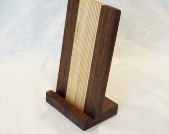 Wooden iPad stand, tablet stand, walnut and birch