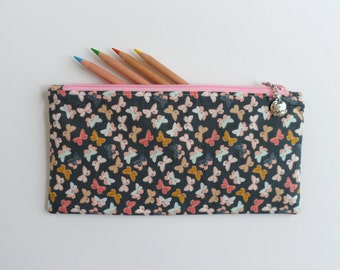 Gift for teacher, No. 1 Teacher charm, butterfly fabric, pencil case, small zipper purse, sunglasses case, handbag organizer, ready to ship