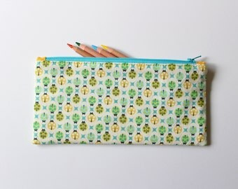 Blue and green ladybug pencil case - zipper pouch - childrens small purse - gift under 20 - kids pouch - stocking stuffer