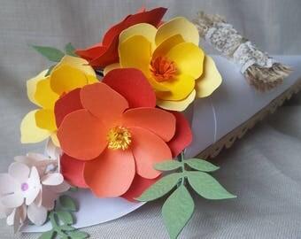 Paper flowers in cone-mini bouquet