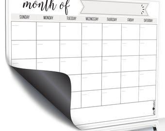Dry Erase Calendar ~ Calendar Dry Erase Board ~Family Dry Erase Board~Magnetic White Board~Reusable Calendar~Memo Calendar~Monthly Dry Erase