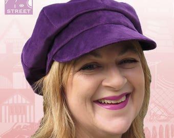 Purple velvet newsboy cap slouchy boho cap peaked cap