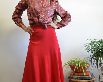 80s Vintage Red Skirt, Union Made Fully Lined Minimilast High Waisted Skirt