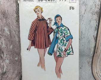 "Vintage Wheldons Pattern no 373 Womens two way beach coat Bust 34"""