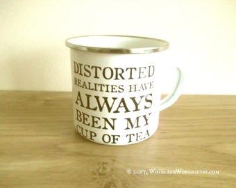 Enamel Mug - Tea Drinker Gift   Bookish Quote, Office Secret Santa Gift, Literary Stocking Filler Gift   Virginia Woolf Quotation Typography