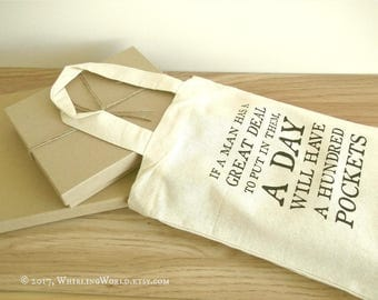 Small Eco Tote Bag | Nietzsche Quote, natural cotton book bag | bookish gift for reader | librarian lunch bag | book group party favor bag