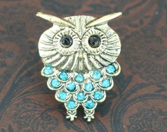Adjustable Owl Ring, Owl ring with Blue Rhinestone Crystals, Gold and Blue Ring, Gift for Her, Birthday Gift, Ring, Owl Jewelry, Jewellery