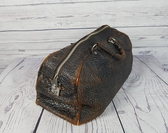 Vintage British Made Leather Medical Bag Zipper Handles Doctor Bag Handbag Black Brown Retro Doctor Top Handle Bag (Key is Missing)