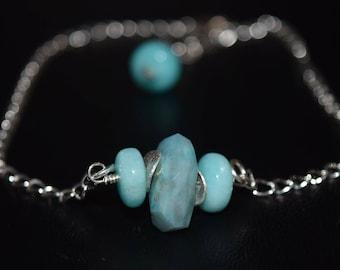 Adjustable Peruvian Amazonite Bracelet~ Sterling Silver Bracelet~ Stacking Bracelets~