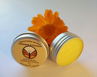 Calendula lip balm/Coconut lip balm/healing calendula/hydrating coconut oil/baby balm/sensitive lips/Calendula/Beeswax lip balm/