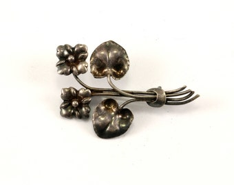Vintage Blossom Design Pin/Brooch 925 Sterling Silver BB 985
