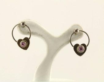 Vintage Pink Crystal Heart Stud Earrings 925 Sterling ER 403