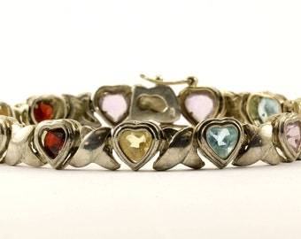 Vintage Multi Colored  Heart Design Link Bracelet 925 Sterling BR 402