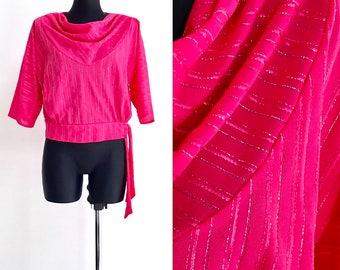 Pink Blouse Top Evening Glam Disco Tank Top Shirt Pullover Vintage 1980s Tee Vintage 3/4 Sleeve Silky Pullover Waist Bow Tie Side Size S/M