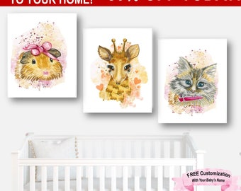 Nursery Set Baby Animals, Nursery Set Animals, Art Set Girl Nursery, Art Set Animals, Art Set Watercolor, Baby Animals Set, Giraffe Print