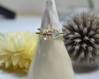 Herkimer Diamond Stacking Ring - 14k Gold Fill & Sterling Silver