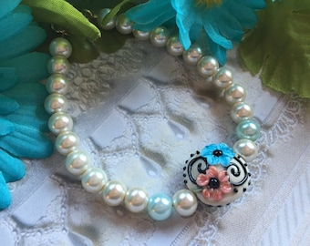 Blue and Cream Flower/Floral Bracelet, Lampwork Jewelry, SRA Lampwork Bead Bracelet, Gift For Her