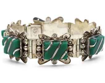 Diaz Santoyo Sterling, CJB Sterling Bracelet, Handmade Bracelet, Hand Carved Stones, Mid Century Bracelet, Vintage 1940s Frida Kahlo Jewelry