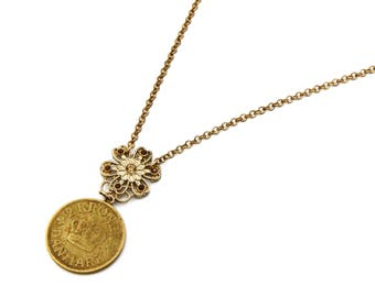 Denmark Coin Necklace, Antique 1925 Edwardian Jewelry, Floral Flower Pendant, Royal Crown Jewelry, Red Sparkling Stones, Gold Chain Necklace