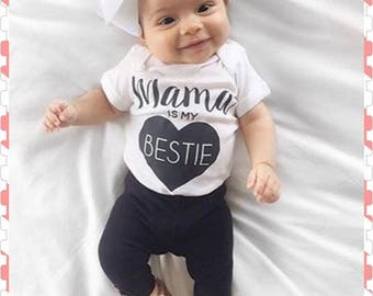 Mommy, Mama, Mom is my Bestie, 3 Piece Outfit, Can Add Childs Name Down The Leg Of The Pants - No Extra Charge, Color Choice