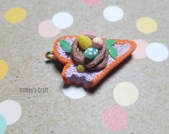 Bonbon Easter Heart non-gloss, Easter nest, Polymer Clay pendant, Cute Easter Eggs, Polymer Clay Jewelry