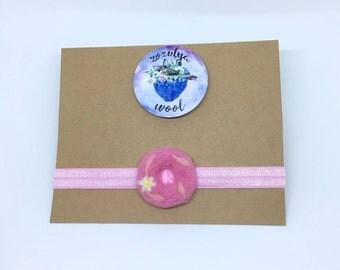 Donut Headband,Baby Headband,Gift,Felted Headband,Hand Felted Headband,Wool Headband,Wool Accessories,Pink Donut,Wool,Headband,Pink Headband