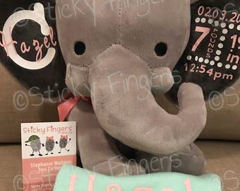 Personalized Stuffed Elephant- Baby Stats