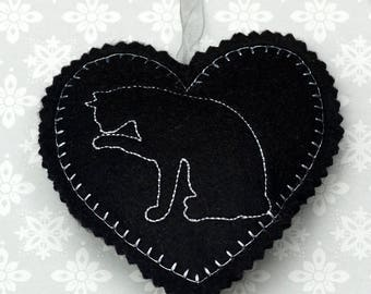 Embroidered heart, felt heart,  hanging heart, machine embroidered heart, cat