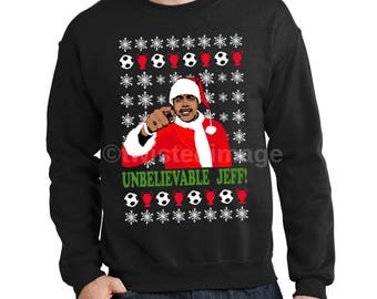 Funny Chris Kamara Unbelievable Jeff Football Ugly Christmas Jumper Sweater Sweatshirt Design Gift For Him