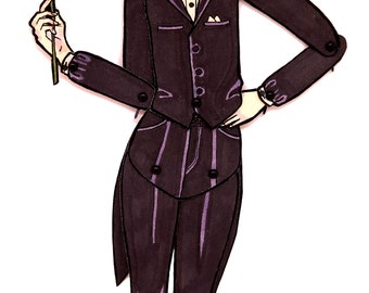 Tuxedo Pearl Articulated OOAK Paper Doll