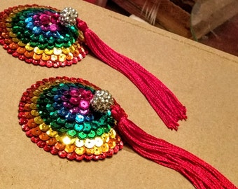 Rainbow Pasties with Red Tassels