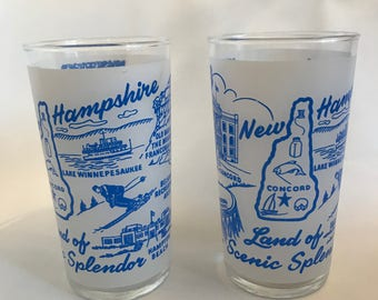 Vintage Land Of Scenic Splendor Glass Frosted Tumbler