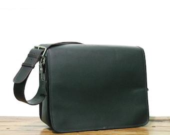 """16"""" Vintage Leather Messenger Bag for men and Women CrossBody Bag, Unisex Laptop Bag Dark Brown Leather Briefcase Unisex Mens Bag"""