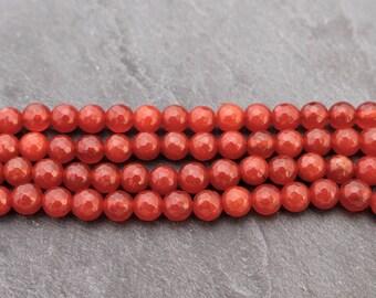 8mm Faceted Carnelian Beads, Round, Gemstone Beads, Dark Orange, Orange Beads, Natural Beads, 8 mm, 8mm Carnelian, Natural Carnelian