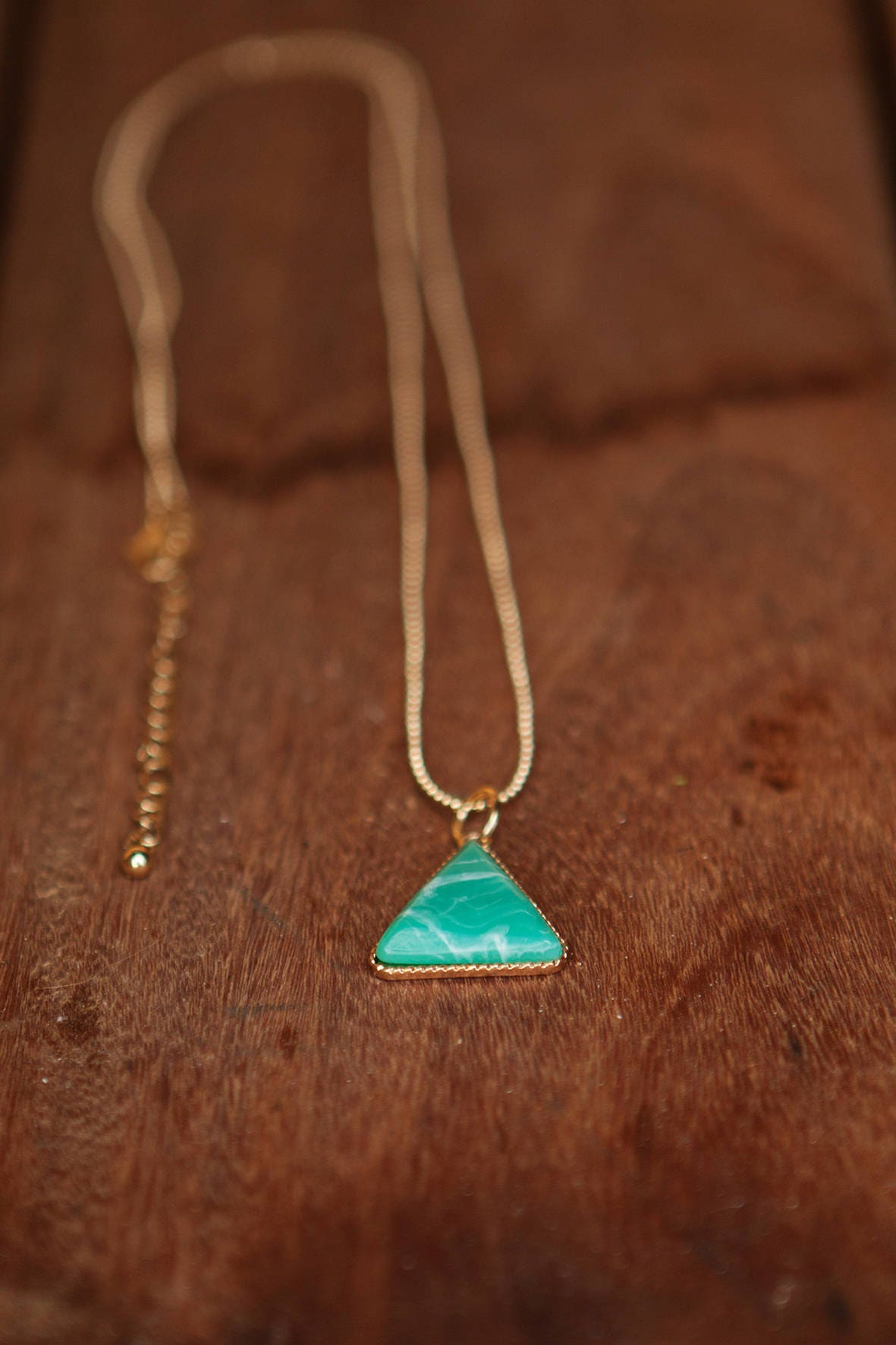 Triangular necklace green pendant necklace simple necklace long triangular necklace green pendant necklace simple necklace long necklace gold long necklace aloadofball Choice Image