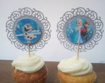 12Cupcake Toppers Frozen inspired/party/decorations/first birthday/topper/children/birthday/birthday frozen/frozen decorations/frozen theme