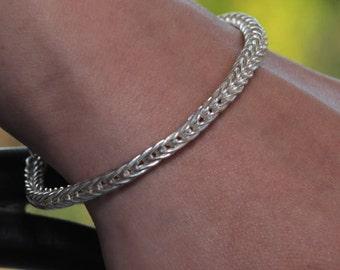 Double Loop-in-Loop Bracelet of 999 Fine Silver, Handmade USA